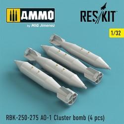 RBK-250-275 AO-1 Cluster bomb (4 pcs) (Su-25, MiG-21, MiG-27) - Scale 1/32 - Reskit - RS32-0142