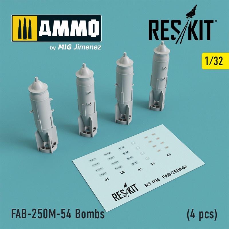 Reskit FAB-250М-54 Bombs (4 pcs)( Su-25, MiG-21, MiG-27) - Scale 1/32 - Reskit - RS32-0094