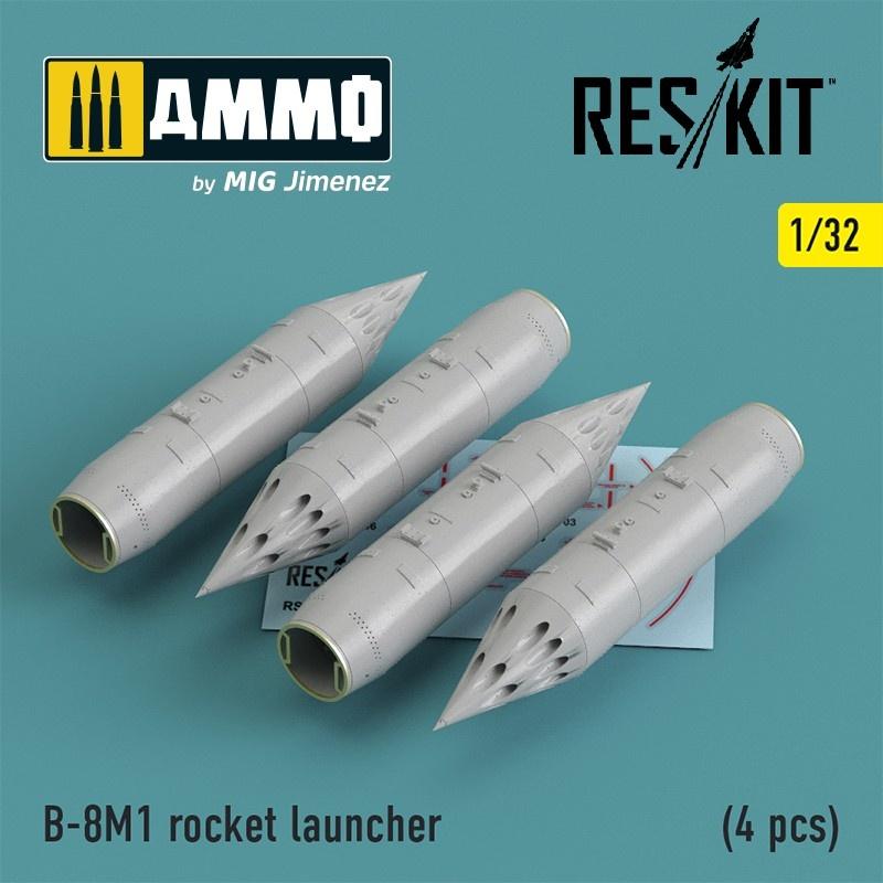 Reskit B-8M1 rocket launcher (4 pcs) (Mig-23/27/29, Su-17/20/22/24/25/27/33, Jak-38) - Scale 1/32 - Reskit - RS32-0013
