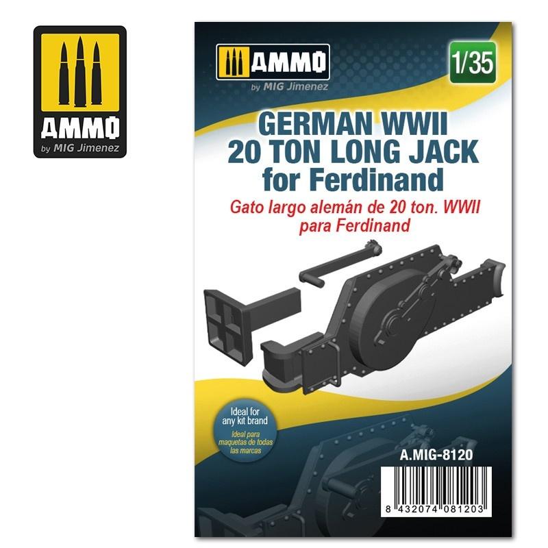 Ammo by Mig Jimenez German WWII 20 ton Long Jack for Ferdinand - Scale 1/35 - Ammo by Mig Jimenez - A.MIG-8120