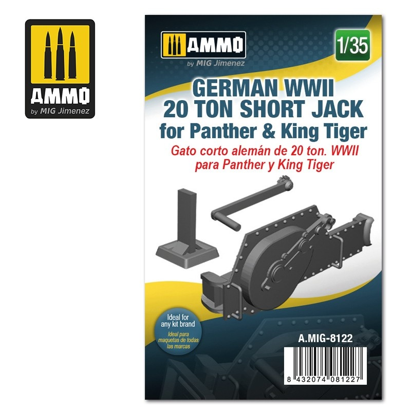 Ammo by Mig Jimenez German WWII 20 ton Short Jack for Panther & King Tiger - Scale 1/35 - Ammo by Mig Jimenez - A.MIG-8122