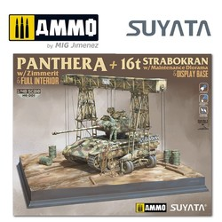 Panther A w/ Zimmerit & Full Interior + 16T Strabokran w/ Maintenance Diorama & Display Base - Scale 1/48 - Suyata- NO001