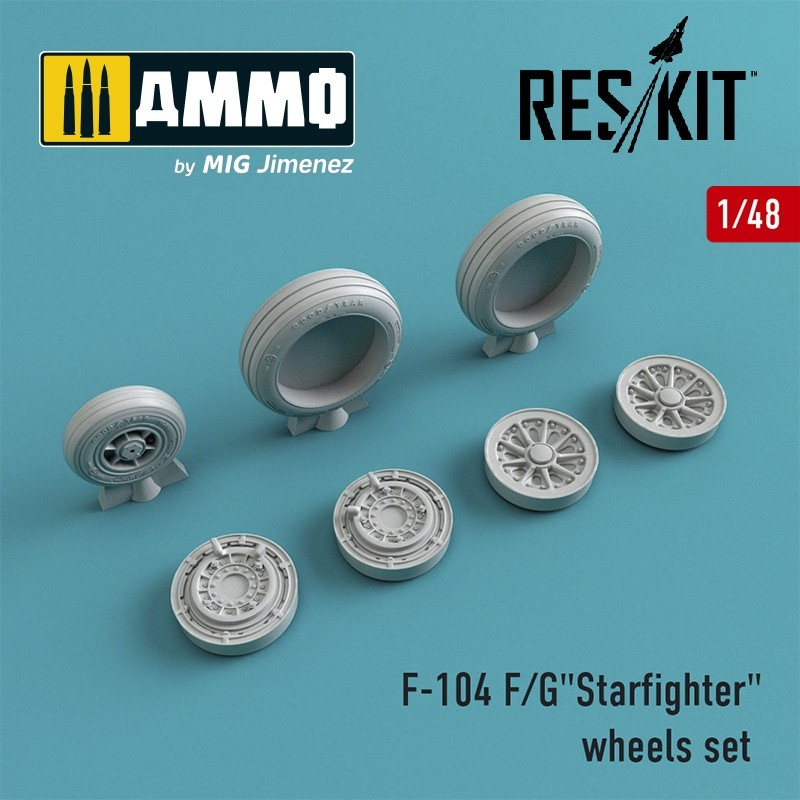 "Reskit F-104 F/G""Starfighter"" wheels set - Scale 1/48 - Reskit - RS48-0010"