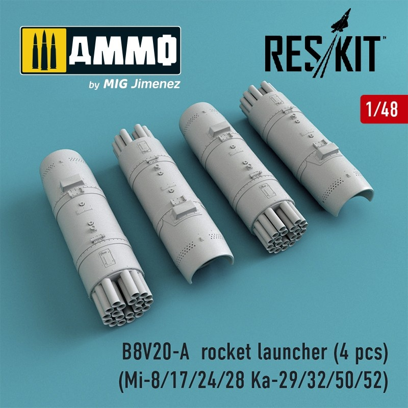 Reskit B8V20-А rocket launcher (4 pcs) (Mi-8/17/24/28 Ka-29/32/50/52) - Scale 1/48 - Reskit - RS48-0014