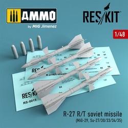 R-27 R/T soviet missile (4 pcs) (MiG-29, Su-27/30/33/34/35) - Scale 1/48 - Reskit - RS48-0015