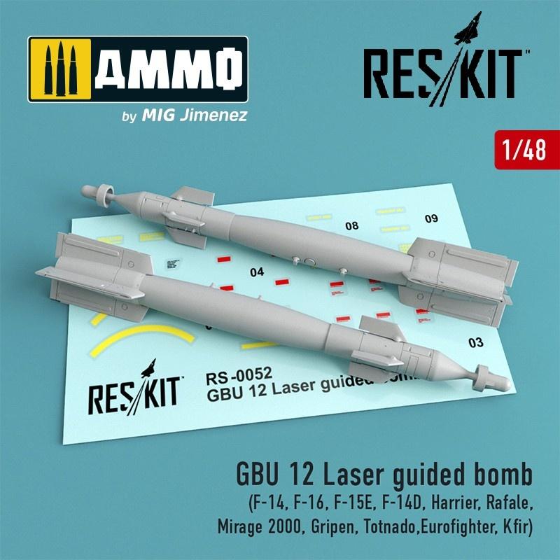 Reskit GBU 12 Bomb (2 pcs) (F-14, F-16, F-15E, F-14D, Harrier, Rafale, Mirage 2000, Gripen, Totnado,Eurofighter, Kfir) - Scale 1/48 - Reskit - RS48-0052