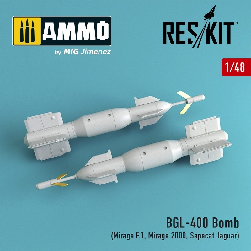 Reskit BGL-400 Bomb (2 pcs) (Mirage F.1, Mirage 2000, Sepecat Jaguar) - Scale 1/48 - Reskit - RS48-0056