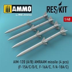 AIM-120 (A/B) AMRAAM missile (4 pcs) (F-15A/C/D/E, F-16A/C, F/A-18A/C) - Scale 1/48 - Reskit - RS48-0086