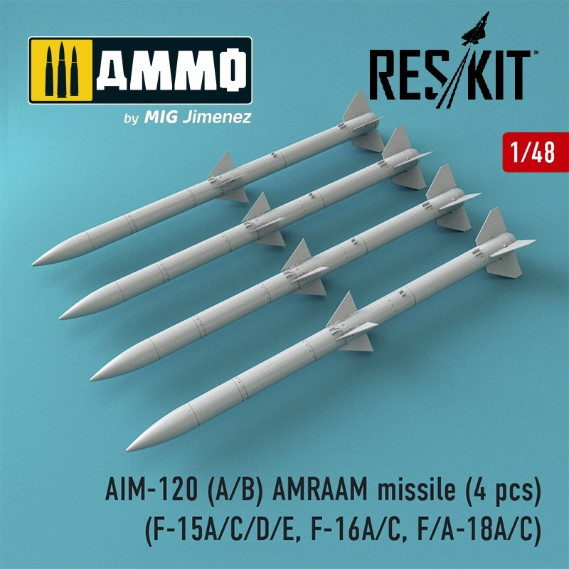 Reskit AIM-120 (A/B) AMRAAM missile (4 pcs) (F-15A/C/D/E, F-16A/C, F/A-18A/C) - Scale 1/48 - Reskit - RS48-0086