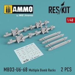 MBD3-U6-68 Multiple Bomb Racks (Su-17, Su-24, Su-30, Su-34, Su-35) (2 pcs) - Scale 1/48 - Reskit - RS48-0095