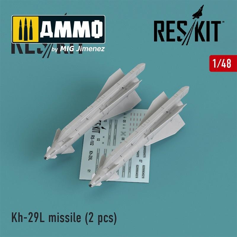 Reskit Kh-29L (AS-14A 'Kedge) missile (2 pcs) Su-17, Su-25,Su-24, Su-34, Su-30, Su-39, Mig-27, Yak-130, Mirage F.1 - Scale 1/48 - Reskit - RS48-0102