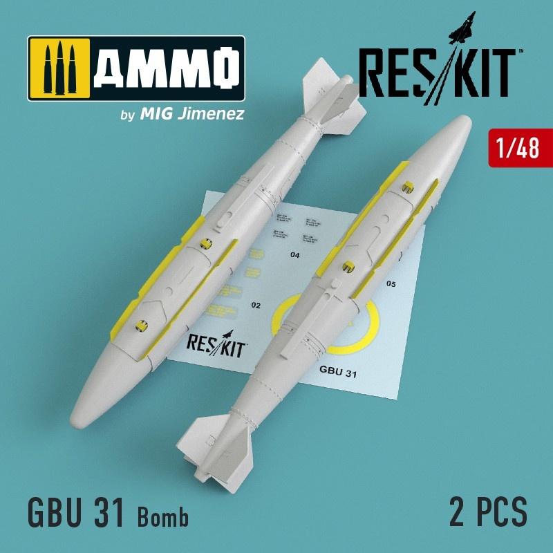 Reskit GBU 31 Bomb (2 pcs) (A-10, B-1, B-2, F-15, F-16, F-35) - Scale 1/48 - Reskit - RS48-0119