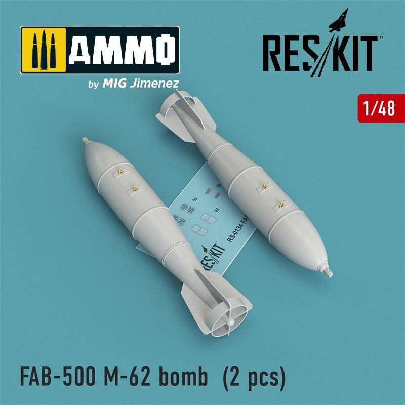 Reskit FAB-500 M-62 bomb (2 pcs) (Su-17, Su-22, Su-24, Su-25, Su-30, Su-34) - Scale 1/48 - Reskit - RS48-0134