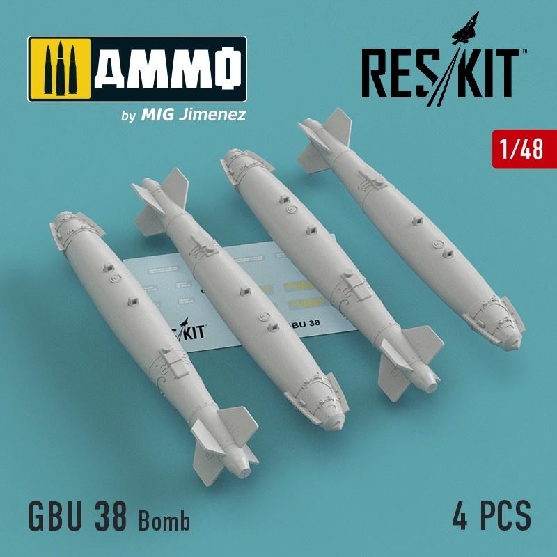 Reskit GBU 38 Bomb (4 pcs) (A-10, F-16, F-15,F-22, F-35) - Scale 1/48 - Reskit - RS48-0120