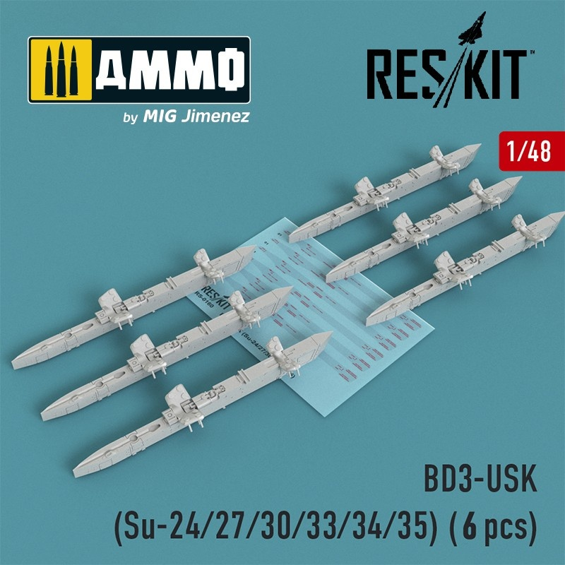 Reskit BD3-USK Racks (Su-24/27/30/33/34/35) (6 pcs) - Scale 1/48 - Reskit - RS48-0160