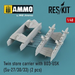 Twin store carrier with BD3-USK (Su-27/30/33) (2 pcs) - Scale 1/48 - Reskit - RS48-0159