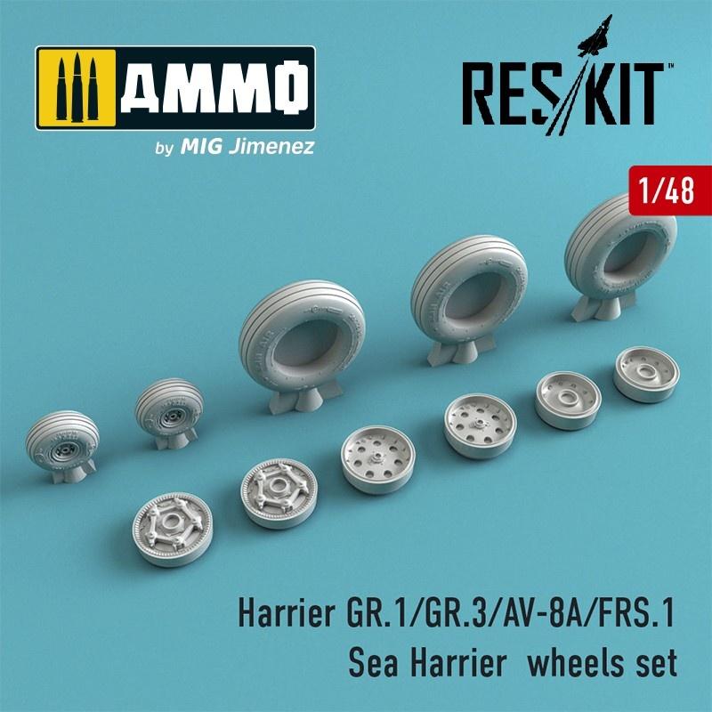 Reskit Harrier GR.1/GR.3/AV-8A/FRS.1/Sea Harrier wheels set - Scale 1/48 - Reskit - RS48-0211
