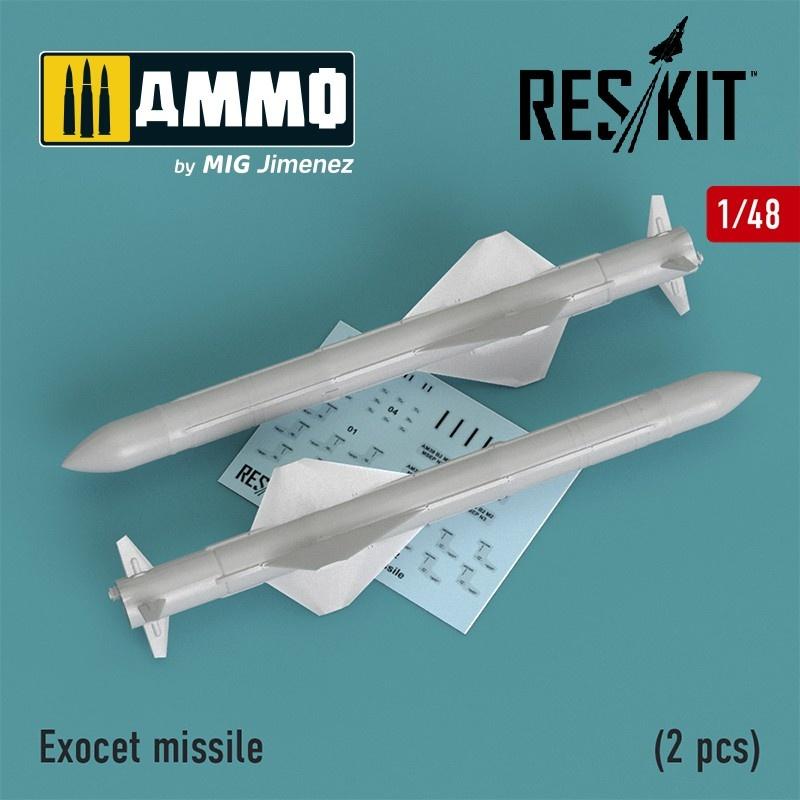 Reskit Exocet missile (2 PCS) (Super Etendart, Mirage 2000) - Scale 1/48 - Reskit - RS48-0195