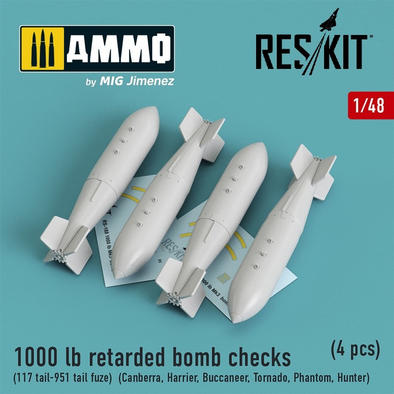 Reskit 1000 lb retarded bomb checks (117 tail-951 tail fuze) (Canberra, Harrier, Buccaneer, Tornado, Phantom, Hunter) (4 pcs) - Scale 1/48 - Reskit - RS48-0188