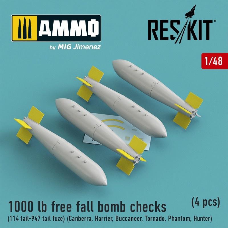 Reskit 1000 lb free fall bomb checks (114 tail-947 tail fuze) (Canberra, Harrier, Buccaneer, Tornado, Phantom, Hunter) (4 pcs) - Scale 1/48 - Reskit - RS48-0187