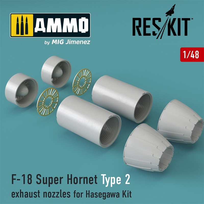 Reskit F-18 Super Hornet Type 2 exhaust nozzles for Hasegawa Kit - Scale 1/48 - Reskit - RSU48-0030