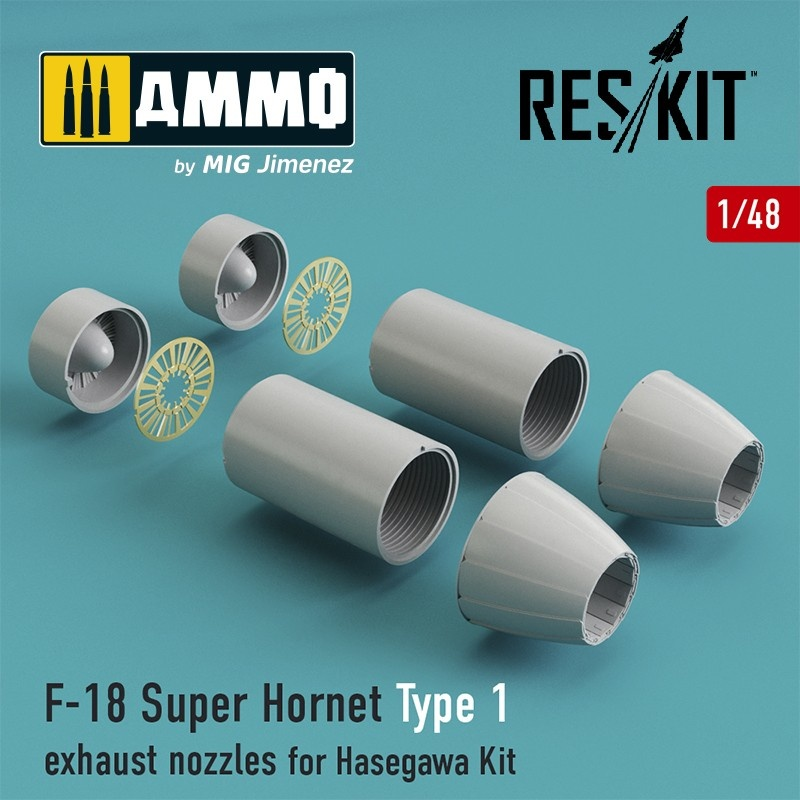 Reskit F-18 Super Hornet Type 1 exhaust nozzles for Hasegawa Kit - Scale 1/48 - Reskit - RSU48-0029