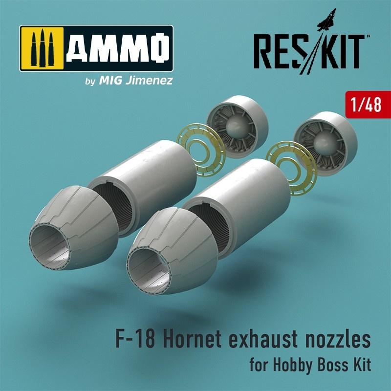 Reskit F-18 Hornet exhaust nozzles for Hobby Boss Kit - Scale 1/48 - Reskit - RSU48-0027