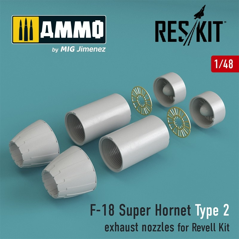 Reskit F-18 Super Hornet Type 2 exhaust nozzles for Revell Kit - Scale 1/48 - Reskit - RSU48-0032