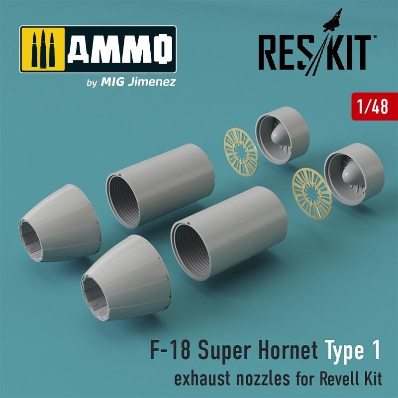 Reskit F-18 Super Hornet Type 1 exhaust nozzles for Revell Kit - Scale 1/48 - Reskit - RSU48-0031