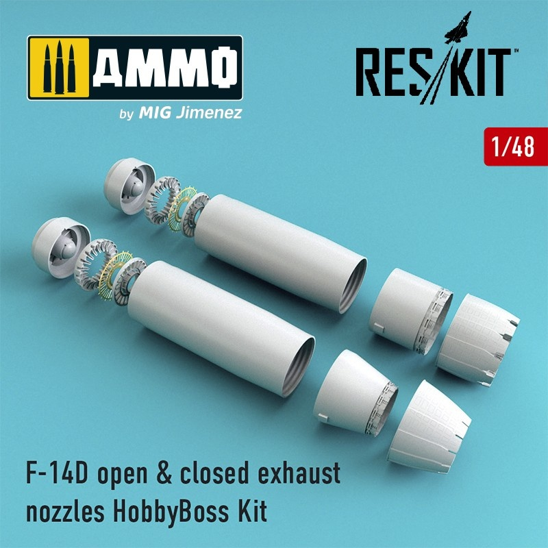 Reskit F-14D Tomcat open & closed exhaust nozzles for HobbyBoss Kit - Scale 1/48 - Reskit - RSU48-0073