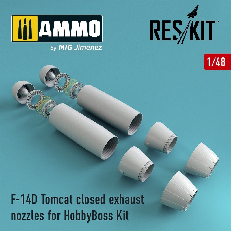 Reskit F-14D Tomcat closed exhaust nozzles for HobbyBoss Kit - Scale 1/48 - Reskit - RSU48-0072