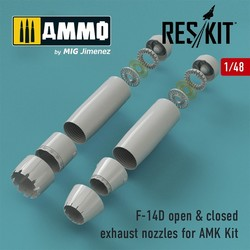 F-14D Tomcat closed & open exhaust nozzles for AMK Kit - Scale 1/48 - Reskit - RSU48-0066