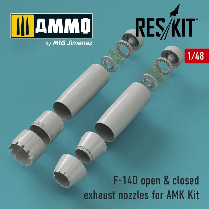 Reskit F-14D Tomcat closed & open exhaust nozzles for AMK Kit - Scale 1/48 - Reskit - RSU48-0066