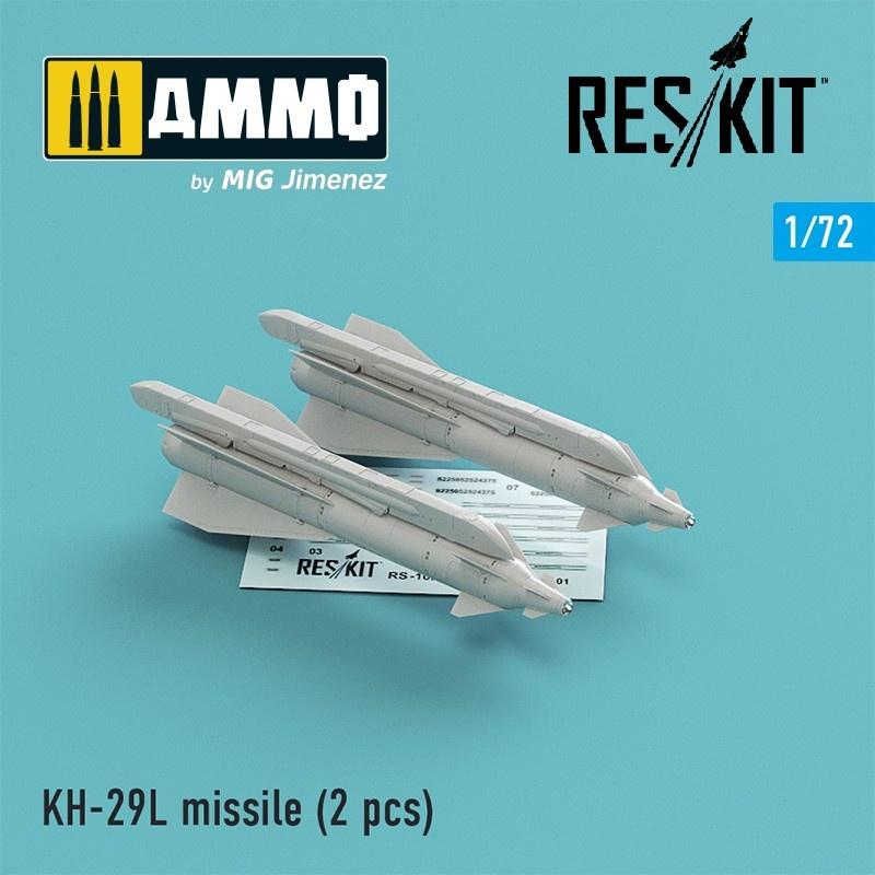 Reskit Kh-29L (AS-14A Kedge) missile (2 pcs) Su-17, Su-25,Su-24, Su-34, Su-30, Su-39, Mig-27, Yak-130, Mirage F.1 - Scale 1/72 - Reskit - RS72-0102