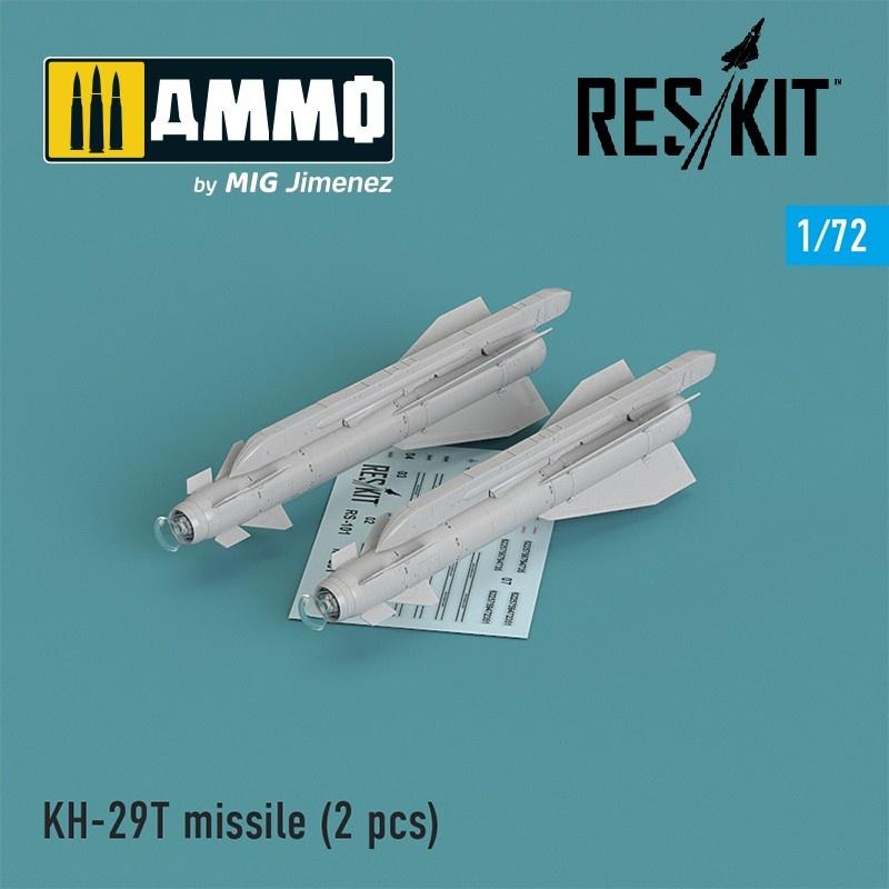 Reskit Kh-29T (AS-14B Kedge) missile (2 pcs) Su-17, Su-25,Su-24, Su-34, Su-30, Su-39, Mig-27, Yak-130, Mirage F.1 - Scale 1/72 - Reskit - RS72-0101