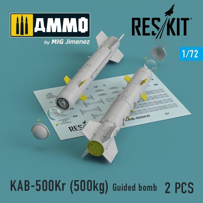 Reskit KAB-500Kr (500kg) Guided bomb (2 pcs)Su-24, Su-34, Su-30, Su-39, Mig-27, Yak-130 - Scale 1/72 - Reskit - RS72-0100