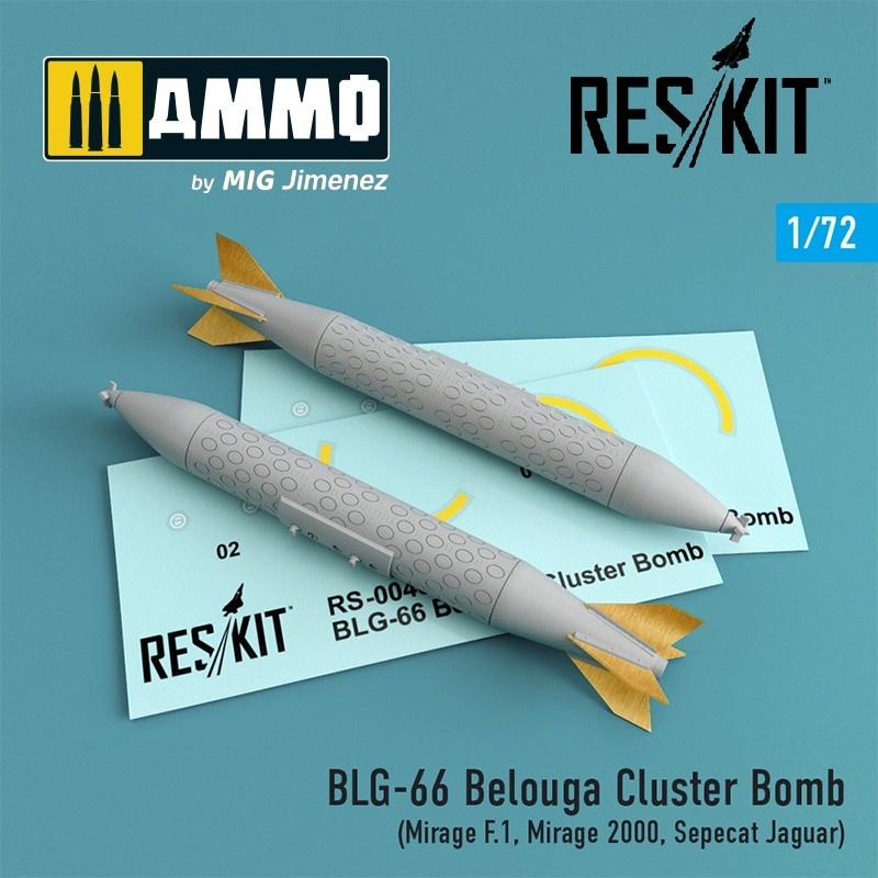 Reskit BLG-66 Belouga Cluster Bomb (2 pcs) (Mirage F.1, Mirage 2000, Sepecat Jaguar) - Scale 1/72 - Reskit - RS72-0048
