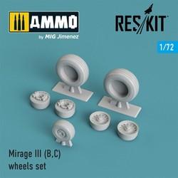 Mirage III (B,C) wheels set - Scale 1/72 - Reskit - RS72-0028