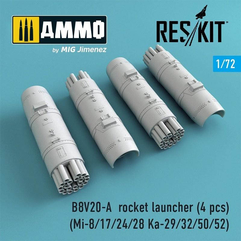 Reskit B8V20-А rocket launcher (4 pcs) (Mi-8/17/24/28 Ka-29/32/50/52) - Scale 1/72 - Reskit - RS72-0014