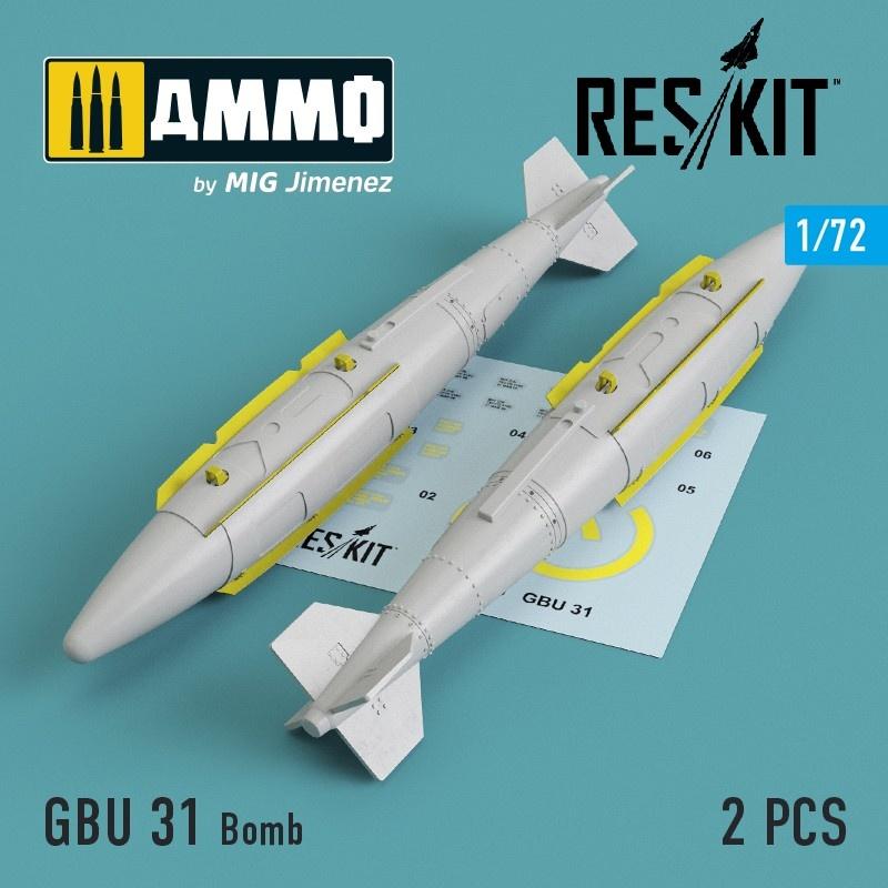 Reskit GBU 31 Bomb (2 pcs) (A-10, B-1, B-2, B-52, F-16, F-15, F-35) - Scale 1/72 - Reskit - RS72-0119