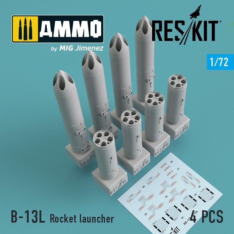 Reskit B-13L Rocket launcher (4 pcs) (Su-17/24/25/30/34, MiG-27/29, Yak-130) - Scale 1/72 - Reskit - RS72-0110