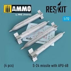 S-24 missile with APU-68 (4 pcs) MiG-21, Mig-23, Mig-27, Mig-29,Su-7, Su17, Su-25, Su-24, Mi-24 - Scale 1/72 - Reskit - RS72-0180