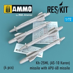 Kh-25ML (AS-10 Karen) missile with APU-68 (4 pcs) (MiG-23, MiG-27, Su-17, Su-24, Su-25) - Scale 1/72 - Reskit - RS72-0179