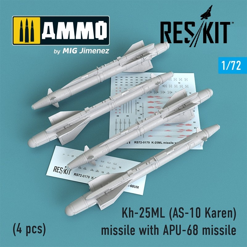 Reskit Kh-25ML (AS-10 Karen) missile with APU-68 (4 pcs) (MiG-23, MiG-27, Su-17, Su-24, Su-25) - Scale 1/72 - Reskit - RS72-0179