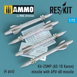 Kh-25MP (AS-10 Karen) missile with APU-68 (4 pcs) (MiG-23, MiG-27, Su-17, Su-24, Su-25) - Scale 1/72 - Reskit - RS72-0178