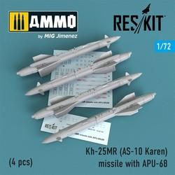 Kh-25MR (AS-10 Karen) missile with APU-68 (4 pcs) (MiG-23, MiG-27, Su-17, Su-24, Su-25) - Scale 1/72 - Reskit - RS72-0177