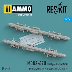 MBD2-67U (2 pcs) Multiple Bomb Racks (MiG-21, MiG-23, MiG-27(М), Su-25, Yak-38) - Scale 1/72 - Reskit - RS72-0158