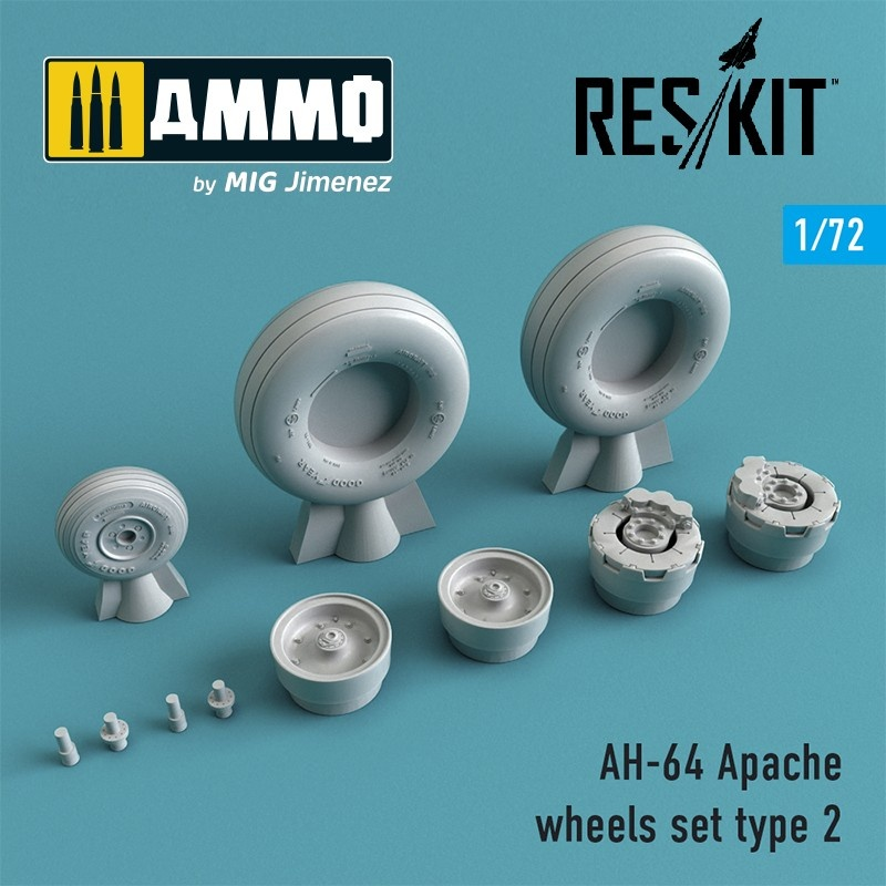 Reskit AH-64 Apache wheels set Type 2 - Scale 1/72 - Reskit - RS72-0144