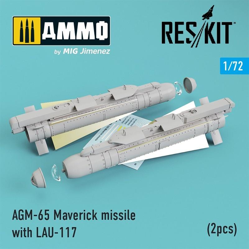Reskit AGM-65 Maverick missile with LAU-117 (2pcs) AV-8b, A-10, F-16, F-18) - Scale 1/72 - Reskit - RS72-0192