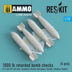 1000 lb retarded bomb checks (117 tail-951 tail fuze)(Canberra,Harrier,Buccaneer,Tornado,Phantom,Hunter)(4 pcs) - Scale 1/72 - Reskit - RS72-0188